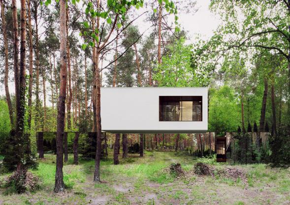 Zrcadlový dům uprostřed lesa